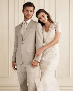 Neutral wedding attire...very classic and sophisticated.