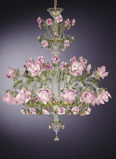 Green, gold and pink Murano rose chandelier - How pretty for a drawing room or ladies library Flower Chandelier, Murano Chandelier, Italian Chandelier, Antique Chandelier, Chandelier Lighting, Italian Lighting, Purple Chandelier, Lustre Shabby Chic, Lustre Vintage