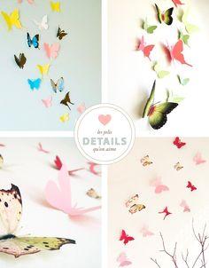 Papillons muraux Découpe papier papillons muraux : SimplyChicLily