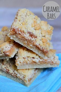 Recipe for Caramel Bars with a crumb topping- a fabulous, chewy bar made with easy-to-make homemade caramel. Try to eat just one! Photographs included.