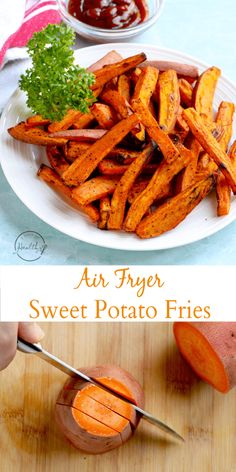 Air Fryer Sweet Potato Fries (+ tips for cutting and seasoning) Air fryer sweet potato fries are a crazy delicious side dish and are super simple to make. Air fryer sweet potato fries are a crazy delicious side dish and are super simple to make. Air Fryer Dinner Recipes, Air Fryer Oven Recipes, Air Fryer Sweet Potato Fries, Air Fryer French Fries, Vegan Quesadilla, Seasoned Fries, Air Frier Recipes, Cooking Sweet Potatoes, Air Fryer Healthy