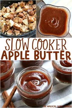 Slow Cooker Apple Butter is thick and perfectly spiced! Great for breakfast or even in recipes such as apple butter pork chops. - The Magical Slow Cooker #apples #applebuter #crockpot #fall