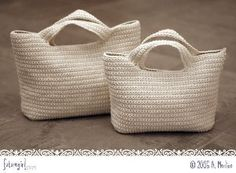 Large and Medium Crochet Bags perfect quick shop market bags