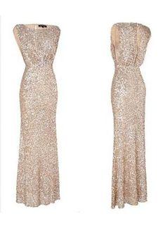 USD$99.00 - Simple Mermaid Floor Length Bridesmaid Dresses Sequined Popular Wedding Party Dresses - www.27dress.com