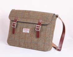 """Harris tweed satchel. Recycle old blazer and belts, sized to fit my 17"""" laptop with outside pocket for Nook."""