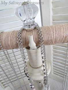 How to repurpose an old lamp and turn it into a necklace display.