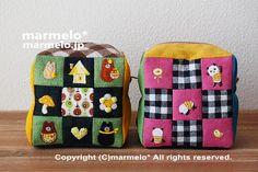 ルービックキューブ風味のころんとポーチ。 #fabric art #handicraft #needlework #embroidery #絵本 #illust #布絵 #刺繡 #kawaii #handmade #zakka #雑貨