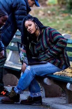 RiRi in her striped Rasta hoodie ❤️Pinterest::boricuaqueen7