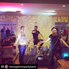 #Repost @teenagekickspartyband with @repostapp  Check out our new banners courtesy of @alivenetwork getting their first parade at Steph & Aled's wedding at Bassmead Manor Barns!
