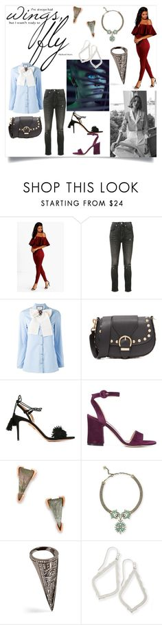 """Wing's and Fly"" by denisee-denisee ❤ liked on Polyvore featuring Boohoo, Adaptation, Gucci, Marc Jacobs, Aquazzura, Gianvito Rossi, Kendra Scott and Lynn Ban"