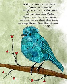Little Blue Bird / Loss / original illustration ART by studio3ten, $20.00