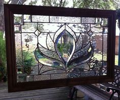 """STAINED GLASS PANEL WINDOW ART BEVELS & CHAMPAGNE 24"""" x 16 TIFFANY STY FRAMED"""