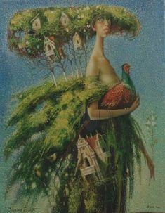 green- woman bird and houses - Vladimir Golub - painting