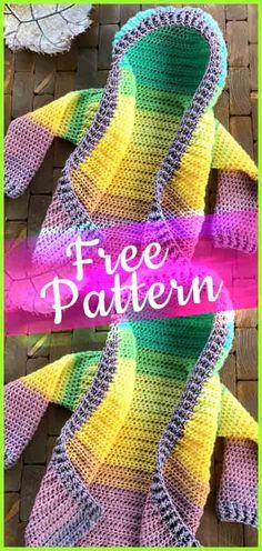 Crochet Child Size Hooded Cardigan  #crochetpattern #crochetbaby