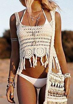 White Plain Hollow-out Tassel Crop Knit Vest - Vests - Tops