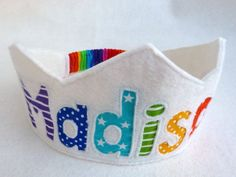 Rainbow Birthday Crown Felt Crown -  Personalized