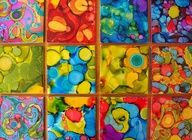 Alcohol Painted Tiles, gorgeous! Have each student paint a tile and then glue to canvas or board frame or don't frame