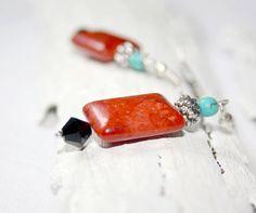 Coral Reef Earrings   red beaded earrings by AnyaCloudJewellery, $18.00