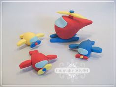 Cupcake Stylist: Cupcake Stylist Fondant Topper of the Day - Helicopter and Airplanes Cake Topper Tutorial, Fondant Tutorial, Fondant Cupcake Toppers, Cupcake Cakes, Airplane Baby Shower, Airplane Party, Helicopter Cake, Planes Cake, Cake Models