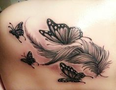 Tattoos And Body Art tattoo kits Feather Tattoo Design, Butterfly Tattoo Designs, Feather Tattoos, Tattoo Designs For Women, Tattoos For Women Small, Small Tattoos, Flower Tattoos, Temporary Tattoos, Butterfly Foot Tattoo