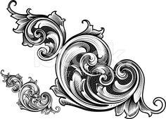 Victorian art with scrollwork Arabesque, Floral Illustrations, Illustration Art, Baroque, Filigree Tattoo, Affinity Designer, Scroll Pattern, Metal Engraving, Carving Designs
