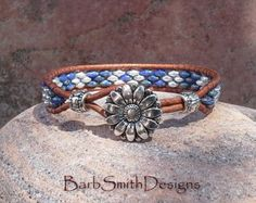 Blue Bronze Beaded Leather Wrap Cuff Bracelet by BarbSmithDesigns