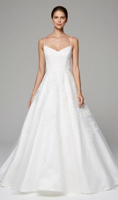 ARABELLA - Anne Barge Fall 2018   Bridal gown with ballerina bodice of appliqued Chantilly and Alencon laces with full skirt.