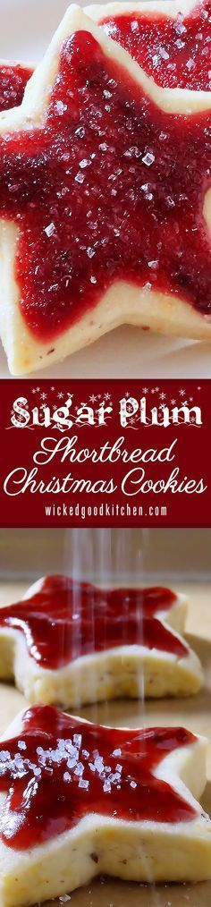 Sugar Plum Shortbread Christmas Cookies ~ old-fashioned buttery shortbread with pecans, topped with Sugar Plum Jam. They are like a jam-topped English scone turned into a shortbread cookie!