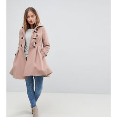ASOS PETITE Skirted Duffle Coat (129 AUD) ❤ liked on Polyvore featuring outerwear, coats, petite, pink, petite coats, petite pink coat, toggle coat, pink duffle coat and toggle duffle coat
