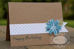CAS simple happy birthday card using stippled nature from Gina K.