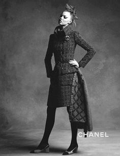 Chanel Fall/Winter 2015/2016 campaign featuring Lindsey Wixson and Anna Ewers. Photographed by Karl Lagerfeld. Styled by Carine Roitfeld.