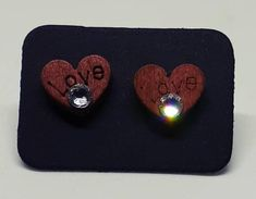 Handmade wooden earings with Swarovski Crystals Handmade Wooden, Handmade Items, Handmade Gifts, Wooden Hearts, Swarovski Crystals, My Etsy Shop, Trending Outfits, Unique Jewelry, Check