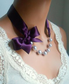 Pearl necklace purple wedding bridesmaids gift plum by casamoda