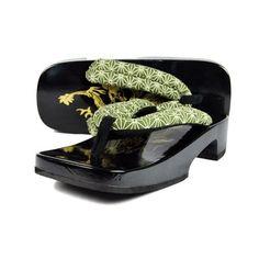 Dragon Ukon Shiraki Geta Japanese Wooden Clogs For Men (Pine Needles Pattern)