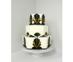 Art Deco Wedding Cake, White, Black and Gold  | Cakes for Occasions, Danvers, MA | www.cakes4occasions.com