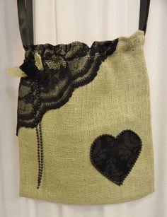 Burlap and black lace heart dollar dance bag