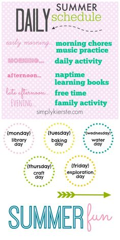 These ideas will give awesome ideas to help make summer easier and more fun with your kids! Everything from a daily summer schedule to fun weekly activities!  | simplykierste.com