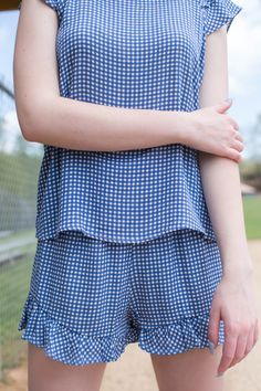 Sunny Gingham Shorts, Blue Gingham Shorts, Sunnies, Rompers, My Style, Blue, Dresses, Fashion, Vestidos, Moda
