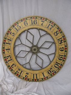 """by the Dailey Company of St. Paul Minnesota. Great old original paint with what we call a """"French"""" cast iron center. (French is the design, not made in France)    The wheel is a 40"""" wheel double sided with great paint on both sides in excellent condition, circa. early 1900's. We included a wall mounting bracket that allows the wheel to spin and clack.   http://www.rubylane.com/item/574500-B2781/Antique-Painted-Wooden-Carnival-Game"""