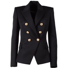 Balmain Double-Breasted Wool Blazer ($1,700) ❤ liked on Polyvore featuring outerwear, jackets, blazers, nero, blazer jacket, balmain jacket, wool lined jacket, double breasted wool jacket and fleece-lined jackets