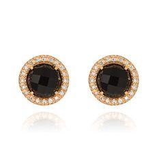 Brinco em ouro amarelo 18k, 16 pts de diamantes e 2 ônix - Coleção Royal