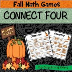 Math Games - This Connect 4 Fall Themed Math Games is a fun way for students to revise concepts in numbers up to 20. The math games includes: 6 game boards with Fall tens frames, set of pumpkin numbers from one to twenty, teacher instructions, preparation and variations to the game.