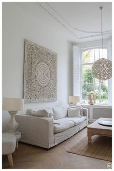 living room rustic chic decor beach houses ideas, New living room rustic chic decor beach houses ideas, New living room rustic chic decor beach houses ideas, White Carved Wall-Mount Panel 183 x 182 cm Namakkal 4 bleached and carved friezes 60 x 60 cm New Living Room, Living Room Decor, Marocco Interior, Indonesian Decor, Rustic Chic Decor, Rustic Home Design, Shabby Chic Homes, Beautiful Interiors, Interior Design