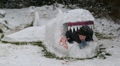 Great WHITE shark! Six-year-old Tyler in an incrdible sculpture built by Sara Lee Burton, from Kirk Langley in Derbyshire