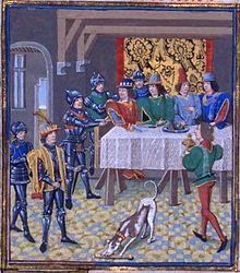 Arrestation de Charles le Mauvais (Chroniques de Jean Froissart15°)-Jean le Bon est averti du complot de partage du pays, ourdi par Charles le Mauvais et les Anglais à Avignon, ainsi que d'un projet d'assassinat le concernant et se décide à le mettre hors d'état de nuire. Le 5 avril 1356, Charles le Mauvais est emprisonné au Louvres, puis au Chatelet.