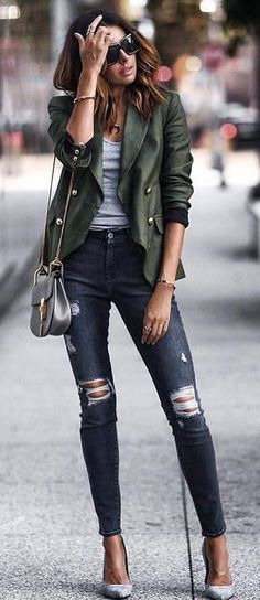 #fall #outfits Green Leather Coat + Ripped Skinny Jeans + Grey Pumps