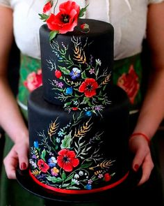 Gorgeous Cakes, Pretty Cakes, Cute Cakes, Amazing Cakes, Beautiful Cake Designs, Dessert Nouvel An, Decors Pate A Sucre, Bolo Cake, Black Wedding Cakes