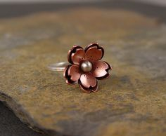 Copper Double Cherry blossom Ring Metalsmithing by HapaGirls, $44.00