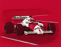 """Niki Lauda on his way to his last Formula 1 victory in the McLaren MP4/2B at the 1985 Dutch Grand Prix.  Pen&ink and markers on 11""""x 8.5"""" red archival stock. I used no red in this art; it's the paper. © Paul Chenard 2015  Original art SOLD."""