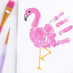 Flamingo Handprint Craft  Supplies Needed: -  White paper -  Pink washable paint -  Glue -  Goggly eye -  Paintbrush -  Black & orange marker Use the paintbrush to paint your kid's hand with pink paint and place it on the white paper. Use a paintbrush to paint the flamingos head. When the paint has dried use the glue to stick on a googly eye.  Now use the markers to add the beak and legs.  For more information please click on the bio link. #shorooqideas #shorooqart #flamingo…